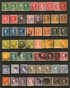 333-534-1908-1920-1c-1-Asst-Washington-Franklin-Various-Perf-Watermarks-Used