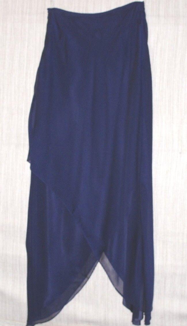 Vintage Cachet Navy bluee Asymmetrical Hem Long Evening  Party Skirt Size 4
