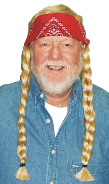 COUNTRY HIPPIE WILLIE BLONDE BRAIDS WITH RED BANDANA WIG COSTUME ACCESSORY 13734