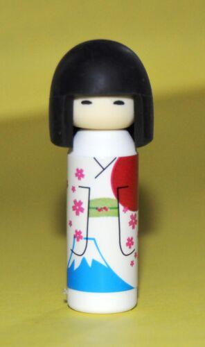White Kimono with Mt Fuji and Japanese flag 1 2//3 inches tall Koheshi Doll