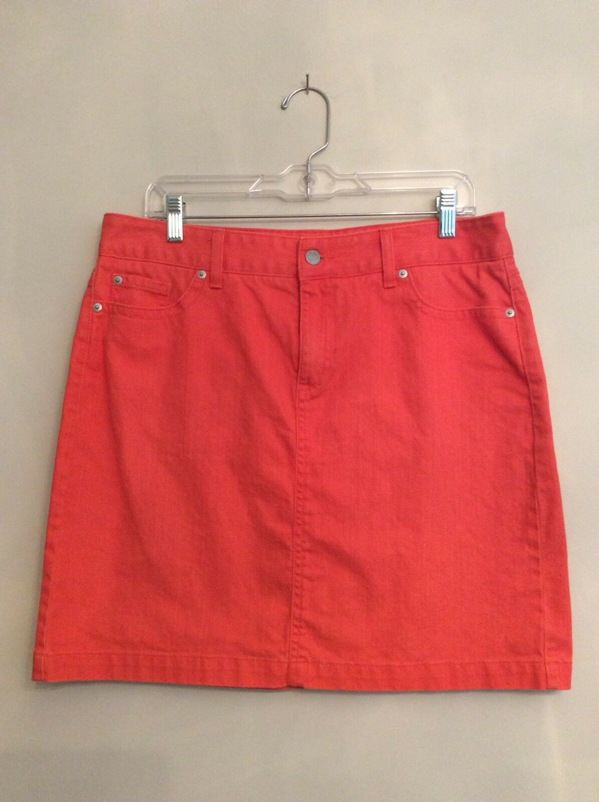 L.L. BEAN 14 PETITE Coral FAVORITE FIT Straight DENIM SKIRT Large Jean 14P
