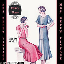 Vintage Sewing Pattern 1920's 1930's Ladies' Dress in Any Size - Plus Size- F310