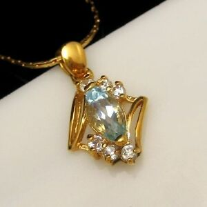 Vintage-Aqua-Glass-Rhinestone-Pendant-Necklace-Interlocking-Chain-Beautiful