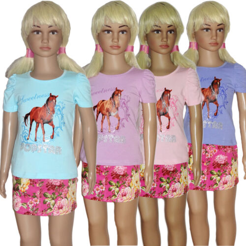 Mädchen Kinder Print Longtop T-Shirt Top Stretch Tunika Pferd Print Glitzer Neu