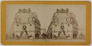 Parigi-Fontana-Saint-Michel-Francia-Foto-Stereo-L6n73-Vintage-Albumina-c1870