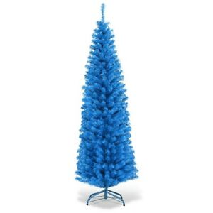 Blue-Christmas-Tree-Slim-Artificial-Tree-Pencil-6-FT-Unlit-With-Stand-Xmas-Tree