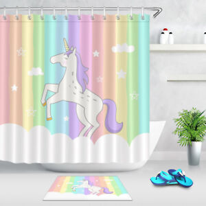 Image Is Loading 72x72 034 Rainbow Cloud Unicorn Bathroom Waterproof Fabric