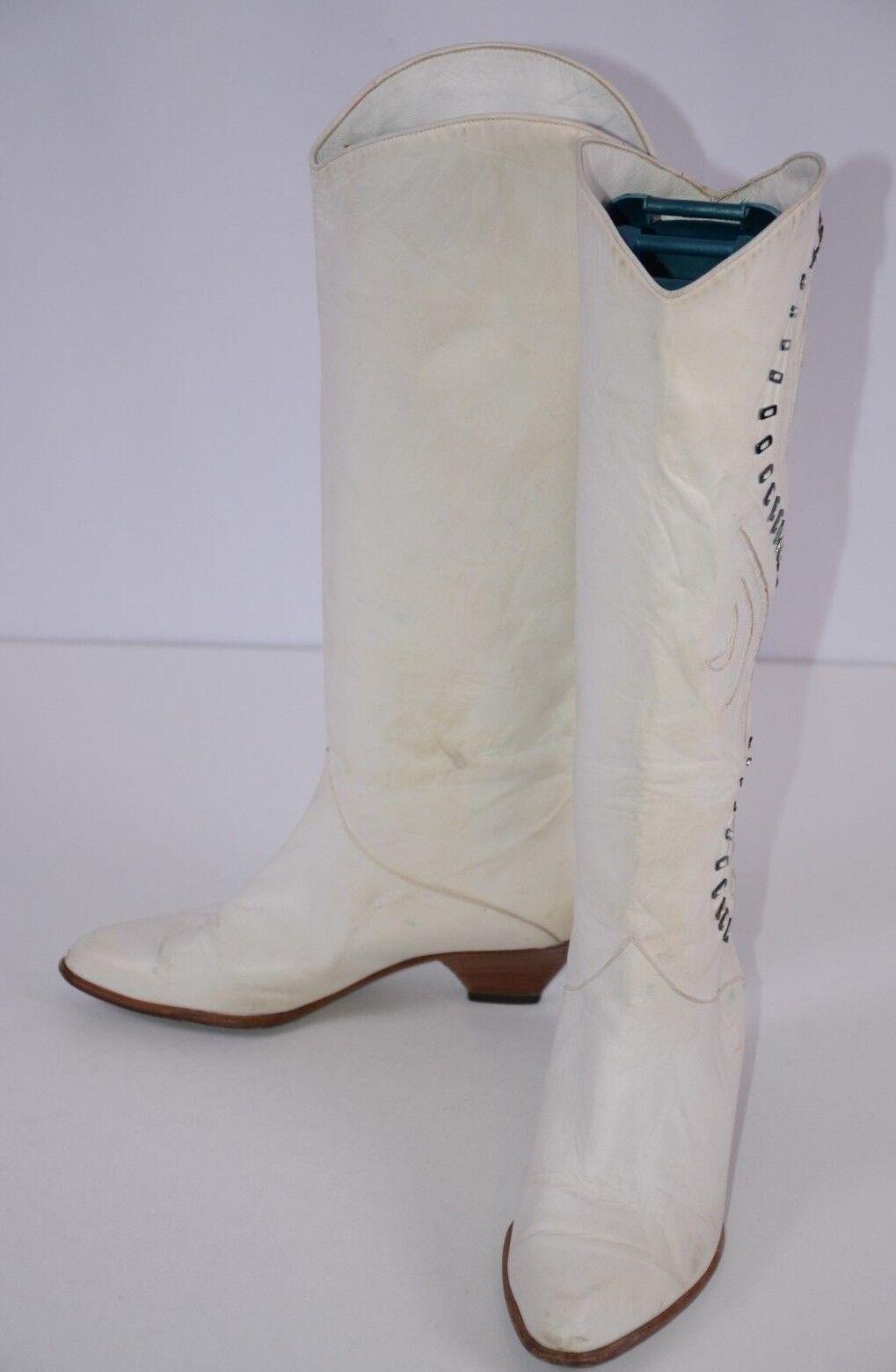 Nando Muzi Women's Knee High Boots Size 6.5 M  Inlay Jeweled White Boho Fun