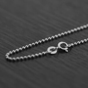 51a05617d24e7 Details about Genuine 925 Sterling Silver 1.5mm Diamond Cut Ball Bead Chain  Necklace