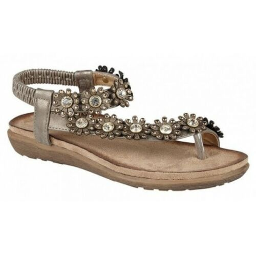 Cipriata SALVA Ladies Womens Breathable Slingback Toe Post Casual Sandals Pewter