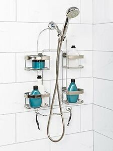 Image Is Loading Shower Caddy Shelves  Over Showerhead Stainless Contemporary Shampoo