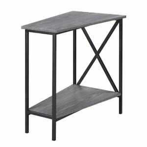 Convenience Concepts Tucson Wedge End Table in Weathered Gray and Black
