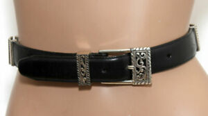 BRIGHTON-BLACK-LEATHER-BELT-floral-silver-tone-SIZE-M-30-35-034-long-Made-in-USA