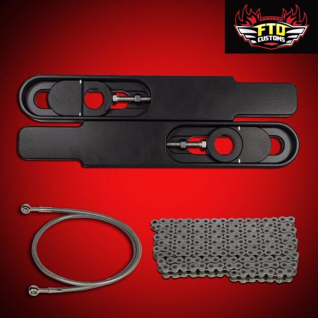 "2001 GSXR 1000 Swingarm Extensions Kit 12"" Long, 530 Chain, & 36"" Brake Line"