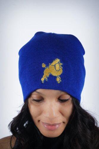 Frenchie Poodle skullie beanie Sigma Gamma Rho SGRho blue gold