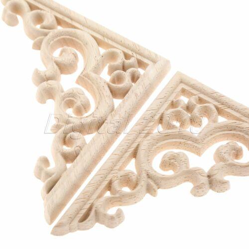 11*11cm non peinte woodcarved Decal coin greffe apposée Applique Cadre meubles DECOR