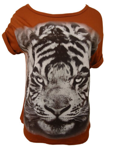 LADIES WOMENS RUST TIGER PRINT T-SHIRT TOP SHORT SLEEVE  6 COLORS SIZE 8-14
