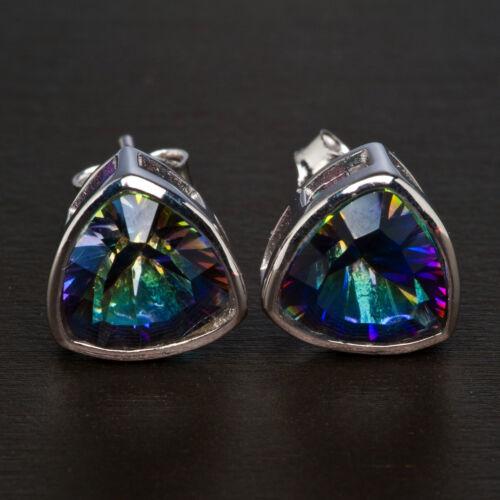 .925 Argent Bleu Brillant Mystic Quartz clous//Post Mille milliards de dollars Boucles d/'oreilles ~ 10x10mm