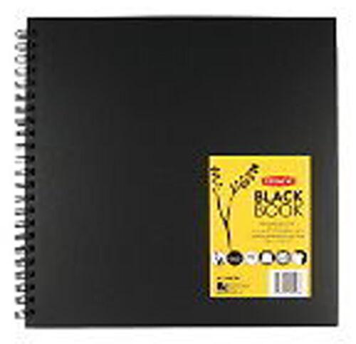 Derwent Hardback Sketch Book Black Paper - 12 Square