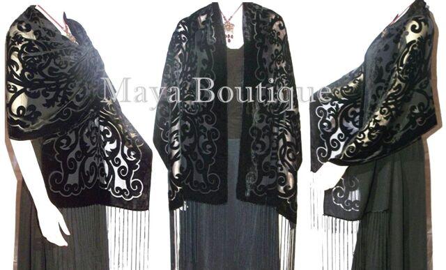 Black Shawl Wrap Scarf Burnout Velvet Art Nouveau Long Maya Matazaro