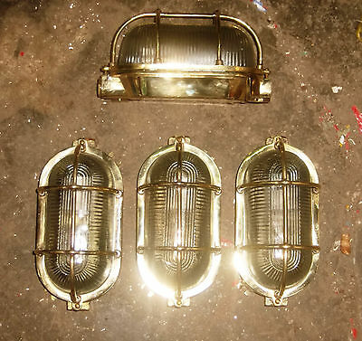 Rare Vintage Marine Brass Lights Set of 4