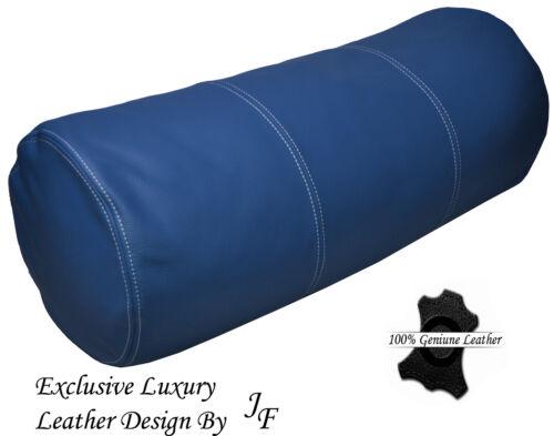 "Le luxe exclusif véritable cuir bleu coussin rond renforcer roll 9 /""x 24/"""
