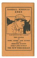 1923 New York Baseball Schedule Babe Ruth Giants Dodgers Yankees