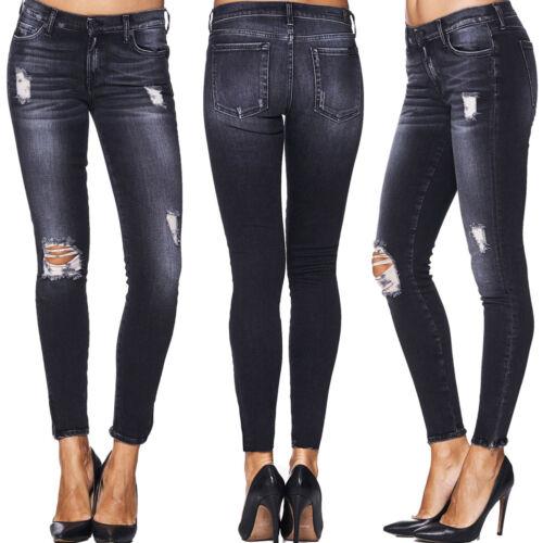 7 SEVEN for all mankind jeans da donna The Skinny Crop DARK DESTROYED NERO NUOVO