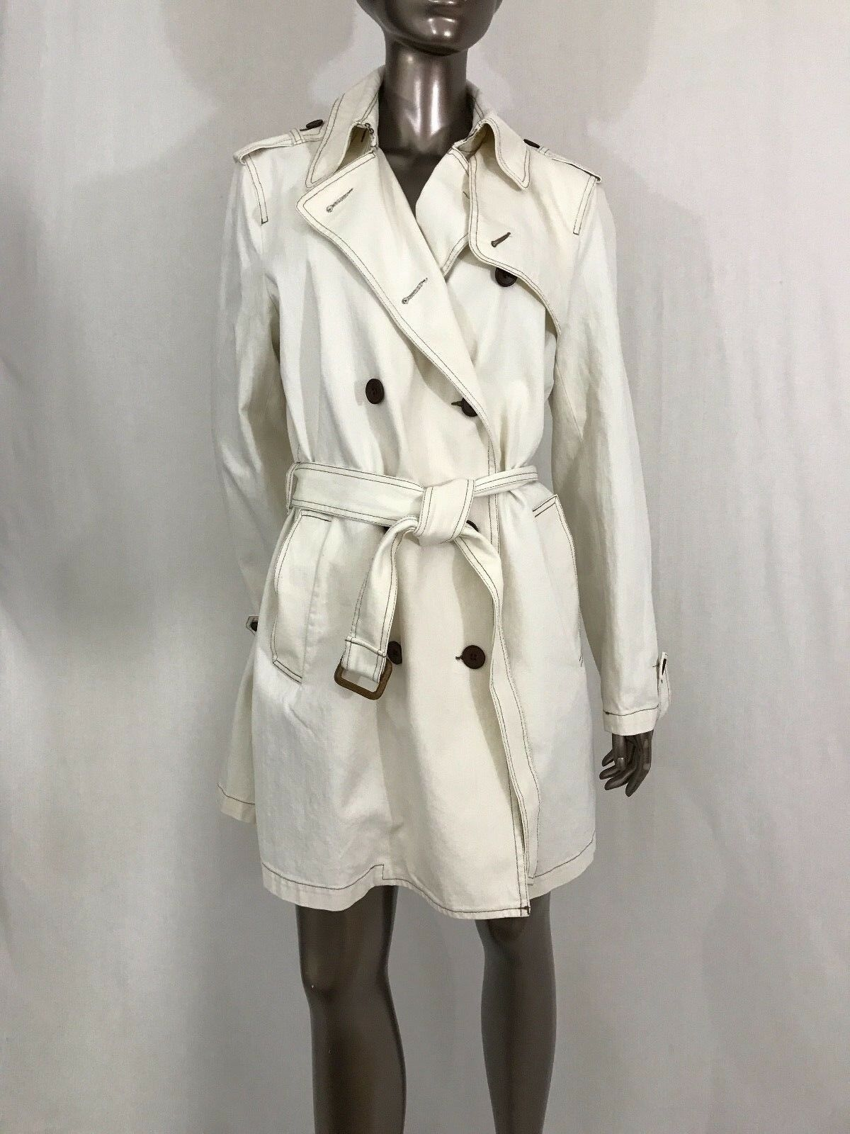 NWT BCBG Max Azria trench coat denim off white double breasted size L