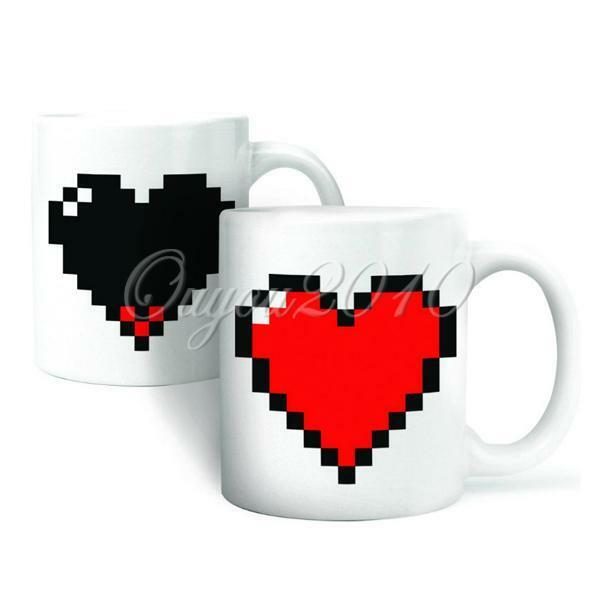 Magic Pixel Heart Coffee Milk Hot Cold Heat Sensitive Color-Changing Mug Cup new