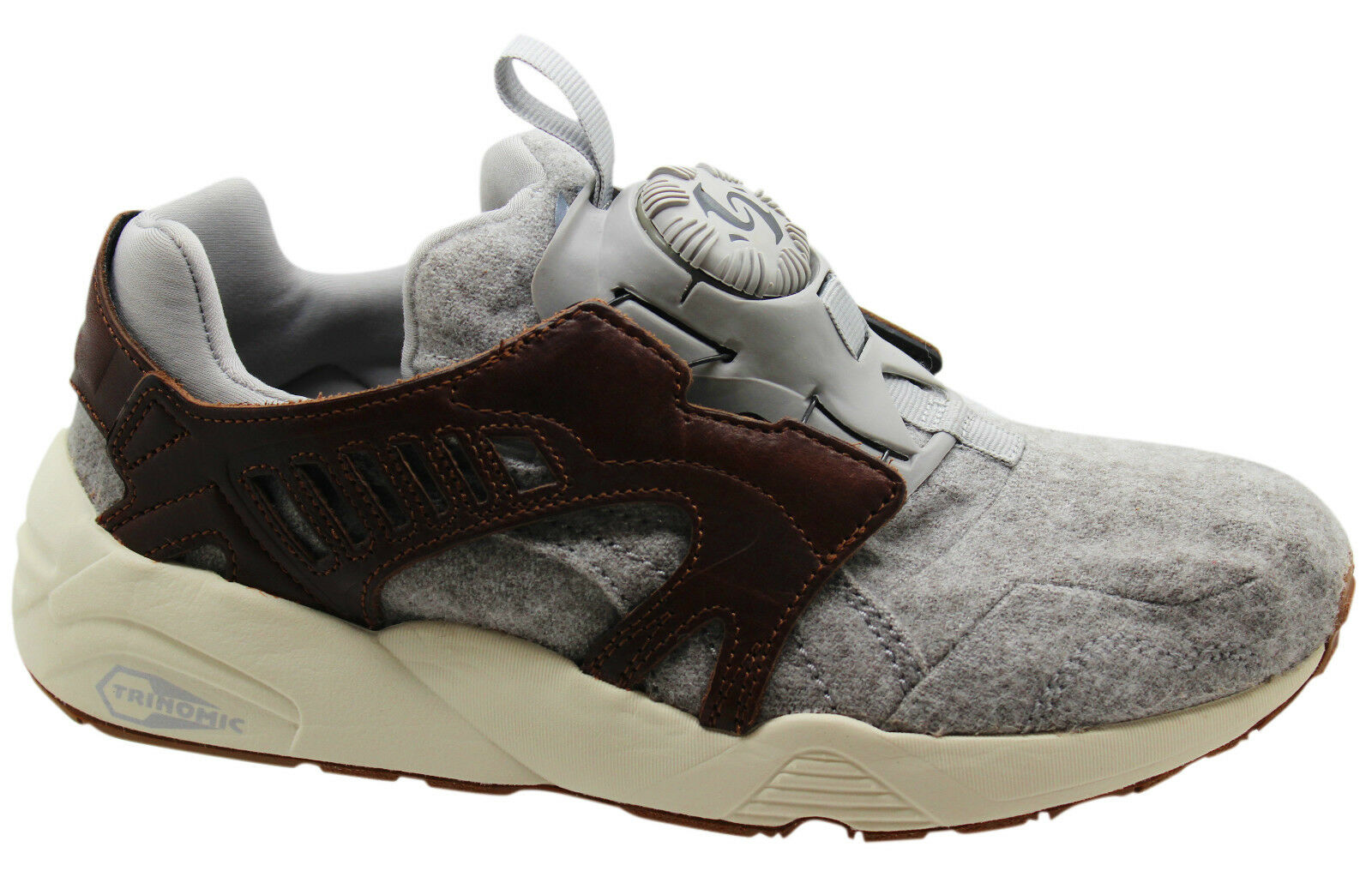 Puma Trinomic Disc Blaze Felt Mens Trainers Slip On Leather Grey 358820 01 U113