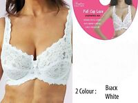 PACK OF 2 BLACK&WHITE LACE FULL CUP NON-PADDED SUPPORT UNDERWIRED BRA BIKINI