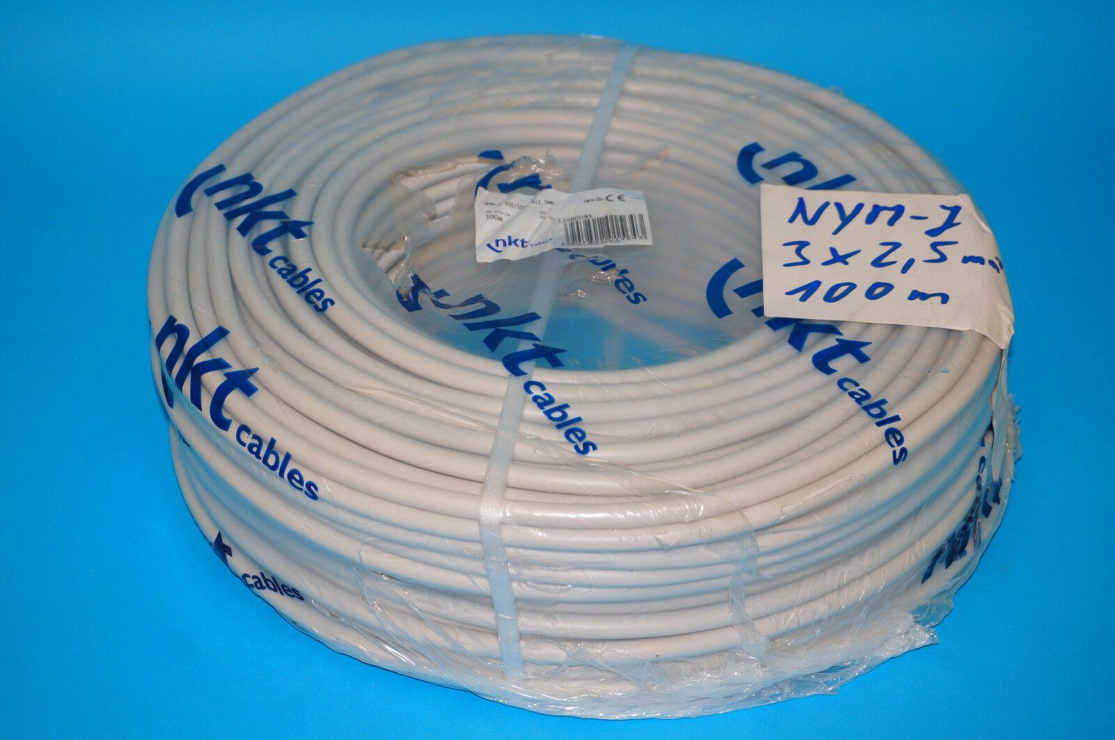 (  m) NYM-J 3x2,5 mm² Mantelleitung Kabel 100m Bund