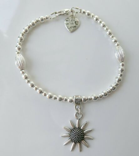 Silver Plated Ball /& Corrugated Oval Bead Bracelet with Choice of Charms Clasp