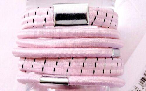 6 Stück teils breite Haargummis Haarbinder Zopfgummi Haarband rosa