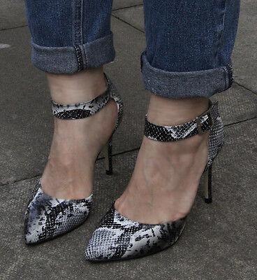Nuevo Para mujeres Damas Tobillo Correas, Serpiente Patrón, tacones altos, Tribunal Zapatos Talla 6