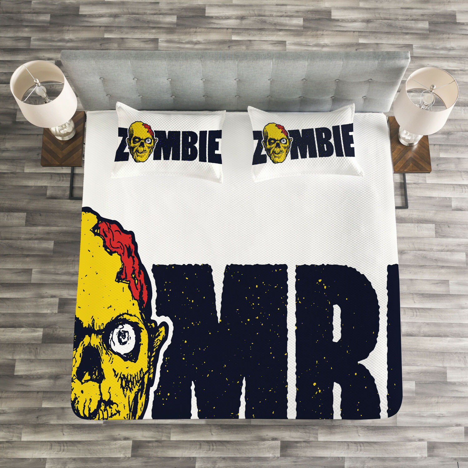 Zombie Quilted Bedspread & Pillow Shams Set, Dead Human Face Print