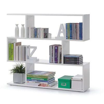 Ciara Living Room 3 Tier Bookcase Room Divider Display Shelf Unit White Gloss