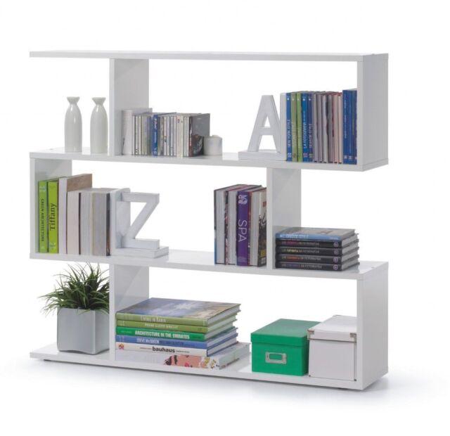 Ciara 3 Tier Bookcase Room Divider Living Display Shelf Unit In White