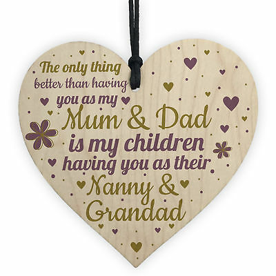 Gifts For Mum Dad Nan Nanny Grandad Wooden Heart Plaque Birthday Christmas Gift 5060625628732 Ebay