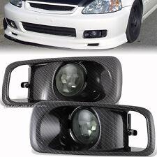 99-00 Honda Civic EK EM JDM Smoke Lens Carbon Look Cover Fog Light Lamp Full Kit