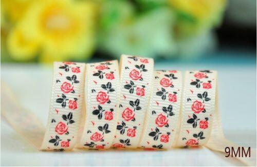"""UK stock 3//8/"""" Gift Wrap Rose Flower GROSGRAIN Printed Ribbon Crafts AF142 9mm"""