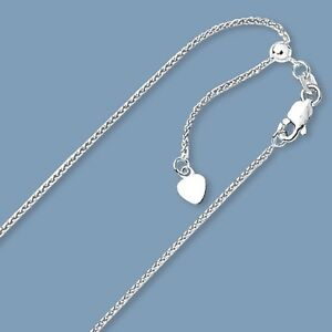 Up-to-22-034-Solid-Adjustable-Wheat-Spiga-Chain-Necklace-Real-14K-White-Gold