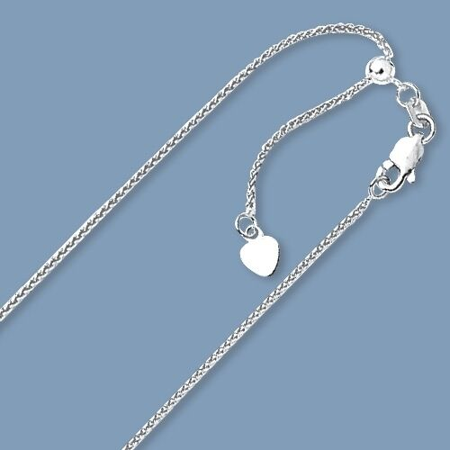 """Up to 30/"""" Solid Adjustable Wheat Spiga Chain Necklace Real 14K White Gold 1.1mm"""