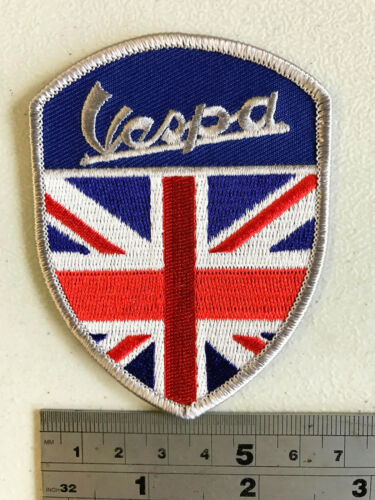 Iron or Sew On Embroidered Vespa Union Jack Shield Patch