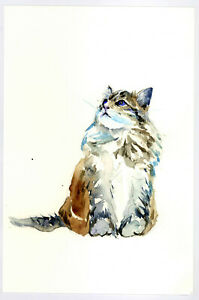 Original-Watercolor-Painting-9-x-6-034-Calico-Cat-Not-ACEO
