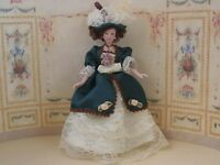 Anne Victorian Doll, Dolls House Miniature, 1.12 Scale Doll. Green Dress. Female