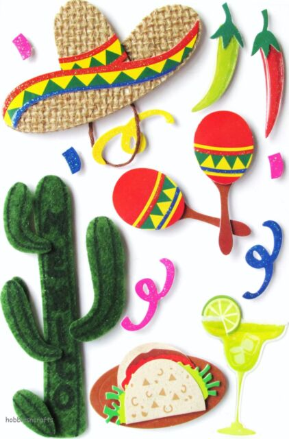 RECOLLECTIONS 3-D TRAVEL STICKERS - CACTUS TEQUILA SOMBRERO HOLIDAYS - MEXICO