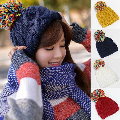 2014 New Women Girls Winter Slouch Crochet Knit Cap Warm Beanie Ski Bobble Hat