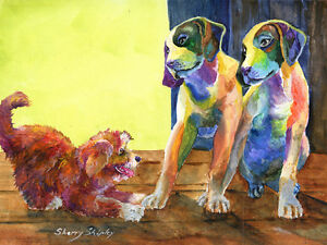 LET-039-S-PLAY-Original-9X12-Acrylic-Framed-DOG-Painting-by-Sherry